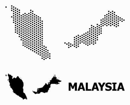 Pixelated map of Malaysia composition and solid illustration. Vector map of Malaysia composition of sphere items with honeycomb geometric array on a white background.