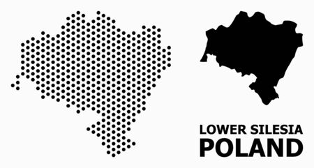 Pixel map of Lower Silesia Province composition and solid illustration. Vector map of Lower Silesia Province composition of spheric pixels with hexagonal geometric array on a white background.