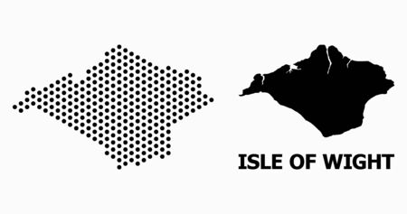 Pixelated map of Isle of Wight composition and solid illustration. Vector map of Isle of Wight composition of spheric pixels with honeycomb periodic order on a white background.