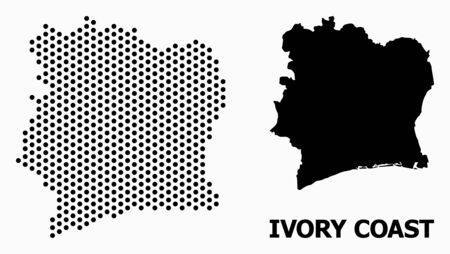 Pixel map of Ivory Coast mosaic and solid illustration. Vector map of Ivory Coast combination of round elements with honeycomb geometric order on a white background.