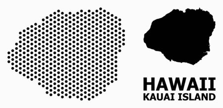 Pixelated map of Kauai Island composition and solid illustration. Vector map of Kauai Island composition of spheric points with hexagonal periodic pattern on a white background. Illustration