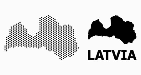 Pixelated map of Latvia composition and solid illustration. Vector map of Latvia composition of circle elements with honeycomb periodic array on a white background.