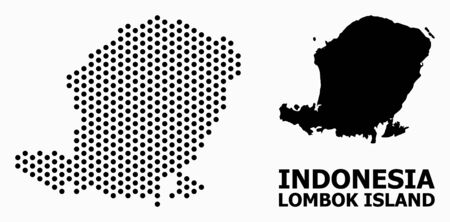 Pixel map of Lombok Island composition and solid illustration. Vector map of Lombok Island composition of round spots with honeycomb periodic array on a white background.