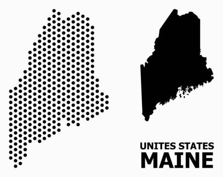 Pixelated map of Maine State composition and solid illustration. Vector map of Maine State composition of circle items with hexagonal periodic pattern on a white background.