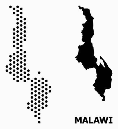 Pixelated map of Malawi composition and solid illustration. Vector map of Malawi composition of spheric dots with honeycomb geometric order on a white background.