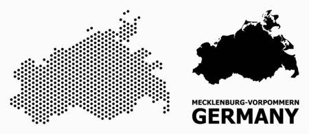 Dot map of Mecklenburg-Vorpommern State composition and solid illustration.
