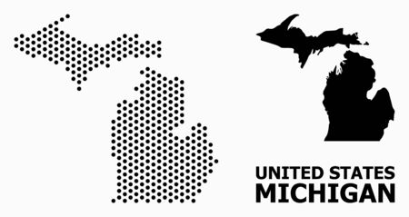Pixel map of Michigan State composition and solid illustration. Vector map of Michigan State composition of sphere points with honeycomb geometric pattern on a white background.  イラスト・ベクター素材