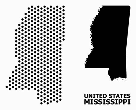 Dot map of Mississippi State composition and solid illustration. Vector map of Mississippi State composition of round pixels with hexagonal geometric order on a white background.