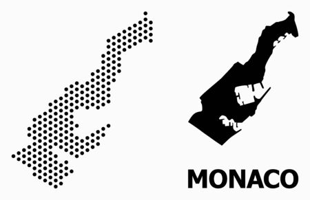 Pixelated map of Monaco mosaic and solid illustration. Vector map of Monaco composition of spheric points with hexagonal periodic array on a white background.  イラスト・ベクター素材