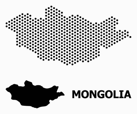 Dotted map of Mongolia composition and solid illustration. Vector map of Mongolia composition of round spots with honeycomb periodic array on a white background.