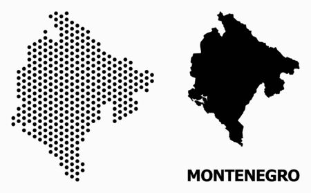 Pixelated map of Montenegro composition and solid illustration. Vector map of Montenegro composition of circle points with honeycomb periodic array on a white background.  イラスト・ベクター素材