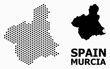 Pixel map of Murcia Province composition and solid illustration. Vector map of Murcia Province composition of spheric points with honeycomb periodic array on a white background.  イラスト・ベクター素材