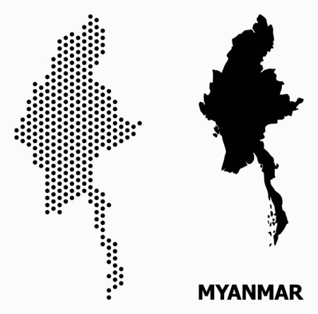 Pixelated map of Myanmar composition and solid illustration. Vector map of Myanmar composition of round elements with hexagonal periodic array on a white background.  イラスト・ベクター素材