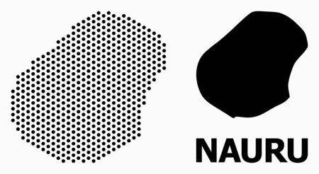 Dotted map of Nauru composition and solid illustration. Vector map of Nauru composition of round dots with honeycomb geometric order on a white background.