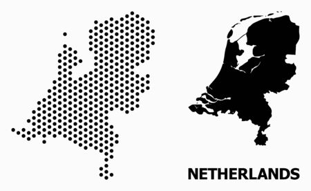 Dotted map of Netherlands composition and solid illustration. Vector map of Netherlands composition of spheric spots with hexagonal periodic array on a white background.
