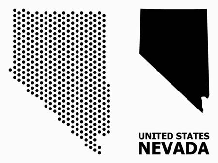Pixelated map of Nevada State composition and solid illustration. Vector map of Nevada State composition of sphere elements with hexagonal periodic array on a white background.