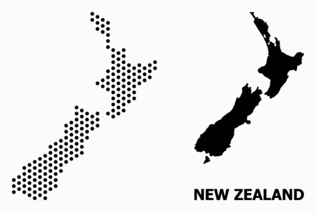 Dot map of New Zealand composition and solid illustration. Vector map of New Zealand composition of circle spots with hexagonal geometric pattern on a white background.