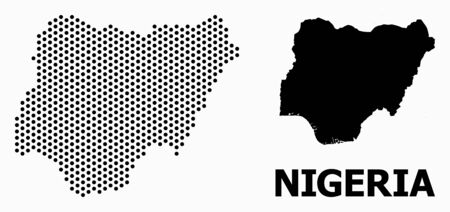 Pixel map of Nigeria composition and solid illustration. Vector map of Nigeria composition of circle pixels with honeycomb geometric order on a white background.