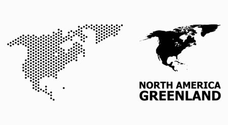 Pixel map of North America and Greenland collage and solid illustration. Vector map of North America and Greenland combination of sphere dots with honeycomb periodic order on a white background.