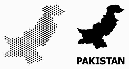 Dot map of Pakistan composition and solid illustration. Vector map of Pakistan composition of round dots with hexagonal geometric array on a white background.  イラスト・ベクター素材