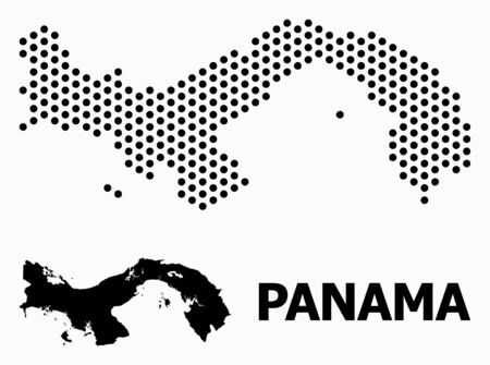 Dot map of Panama composition and solid illustration. Vector map of Panama composition of sphere pixels with hexagonal periodic pattern on a white background.  イラスト・ベクター素材