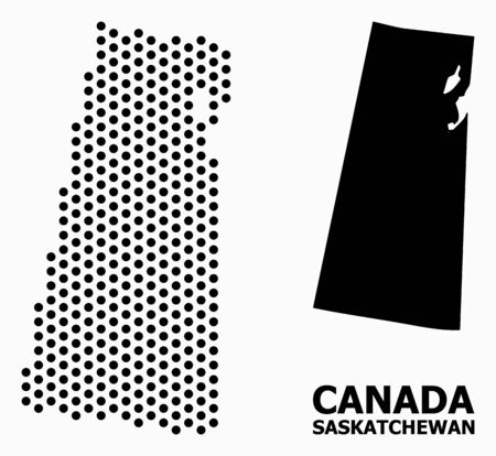 Dotted map of Saskatchewan Province composition and solid illustration. Vector map of Saskatchewan Province composition of round items with hexagonal periodic order on a white background.  イラスト・ベクター素材