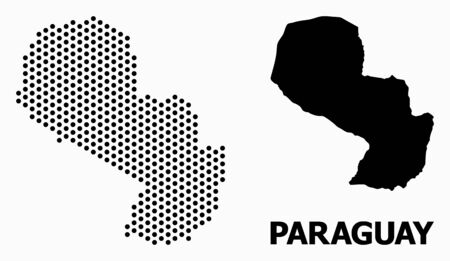 Pixel map of Paraguay mosaic and solid illustration. Vector map of Paraguay composition of sphere points with honeycomb geometric array on a white background.