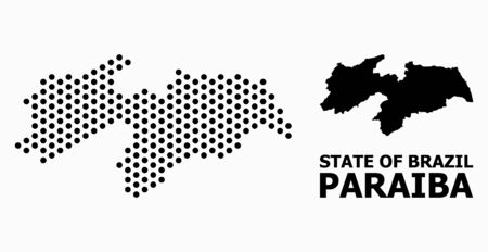 Pixel map of Paraiba State mosaic and solid illustration. Vector map of Paraiba State composition of spheric dots with honeycomb periodic array on a white background.