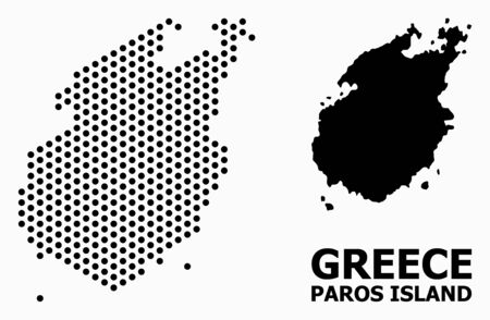 Pixelated map of Paros Island collage and solid illustration. Vector map of Paros Island combination of circle items with hexagonal geometric array on a white background.