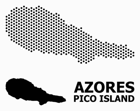 Dotted map of Pico Island composition and solid illustration. Vector map of Pico Island composition of round items with honeycomb periodic pattern on a white background.  イラスト・ベクター素材