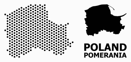 Pixel map of Pomerania Province composition and solid illustration. Vector map of Pomerania Province composition of circle pixels with honeycomb geometric order on a white background.