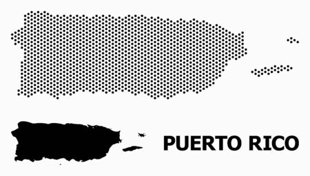 Pixel map of Puerto Rico composition and solid illustration. Vector map of Puerto Rico composition of round items with honeycomb geometric order on a white background.  イラスト・ベクター素材