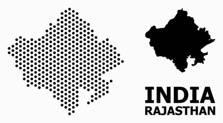 Dot map of Rajasthan State composition and solid illustration. Vector map of Rajasthan State composition of sphere points with honeycomb periodic pattern on a white background.
