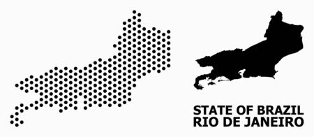 Pixelated map of Rio de Janeiro State composition and solid illustration. Vector map of Rio de Janeiro State composition of spheric points with hexagonal geometric order on a white background.
