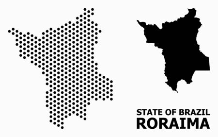Dotted map of Roraima State composition and solid illustration. Vector map of Roraima State composition of round spots with hexagonal geometric order on a white background.