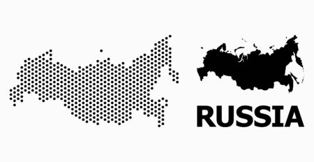 Pixelated map of Russia composition and solid illustration. Vector map of Russia composition of sphere dots with hexagonal periodic order on a white background.