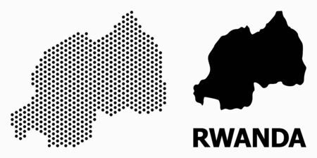 Dot map of Rwanda composition and solid illustration. Vector map of Rwanda composition of spheric dots with hexagonal periodic pattern on a white background.