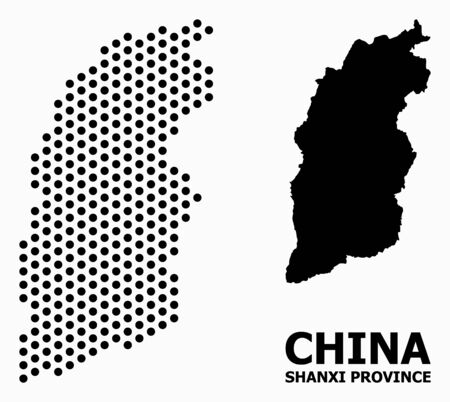 Dot map of Shanxi Province composition and solid illustration. Vector map of Shanxi Province composition of sphere spots with honeycomb geometric array on a white background.  イラスト・ベクター素材