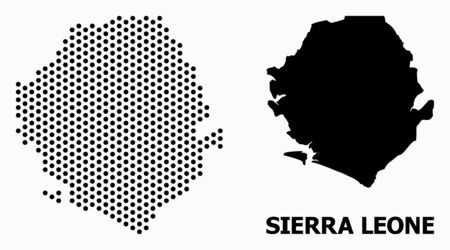 Pixelated map of Sierra Leone composition and solid illustration. Vector map of Sierra Leone composition of spheric points with honeycomb periodic array on a white background.  イラスト・ベクター素材