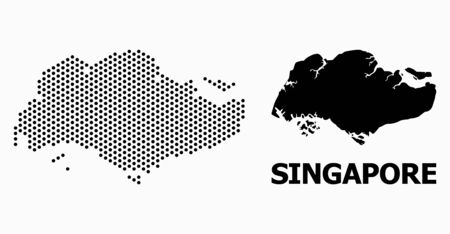 Pixel map of Singapore composition and solid illustration. Vector map of Singapore composition of circle items with hexagonal geometric order on a white background.
