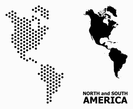Pixel map of South and North America composition and solid illustration. Vector map of South and North America composition of circle dots with honeycomb periodic array on a white background.  イラスト・ベクター素材