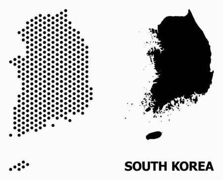 Dot map of South Korea composition and solid illustration. Vector map of South Korea composition of round spots with honeycomb geometric order on a white background.