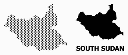 Dot map of South Sudan composition and solid illustration. Vector map of South Sudan composition of circle pixels with hexagonal periodic array on a white background.