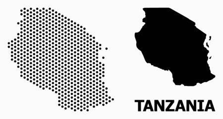 Pixel map of Tanzania composition and solid illustration. Vector map of Tanzania composition of round dots with hexagonal geometric array on a white background.