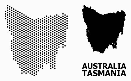 Pixel map of Tasmania Island composition and solid illustration. Vector map of Tasmania Island composition of round dots with honeycomb geometric pattern on a white background.