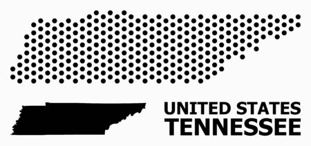 Pixel map of Tennessee State composition and solid illustration. Vector map of Tennessee State composition of circle points with honeycomb periodic order on a white background.