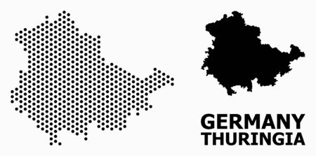 Dot map of Thuringia State composition and solid illustration. Vector map of Thuringia State composition of spheric elements with hexagonal periodic pattern on a white background.