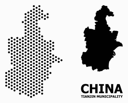Pixel map of Tianjin Municipality composition and solid illustration. Vector map of Tianjin Municipality composition of circle pixels with hexagonal periodic array on a white background.