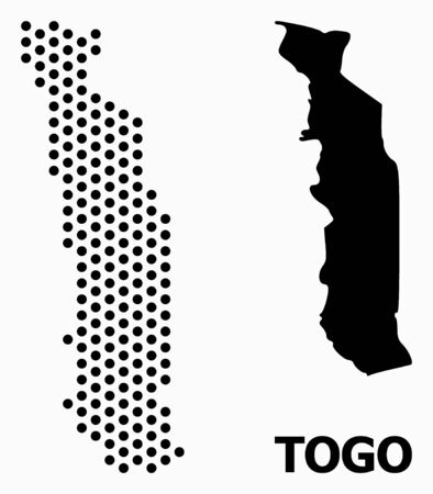Dot map of Togo composition and solid illustration. Vector map of Togo composition of sphere dots with hexagonal periodic array on a white background.  イラスト・ベクター素材