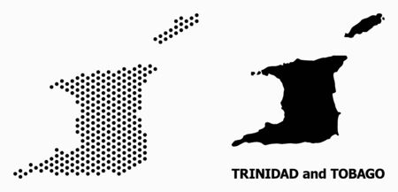 Dotted map of Trinidad and Tobago composition and solid illustration. Vector map of Trinidad and Tobago composition of circle spots with honeycomb periodic array on a white background.  イラスト・ベクター素材